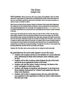 The Giver Unit Plan Outline