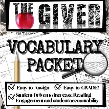 The Giver Novel Study Lesson: Chapter Vocabulary (Helps Reading Engagement)