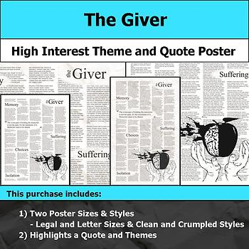 The Giver - Visual Theme and Quote Poster for Bulletin Boards