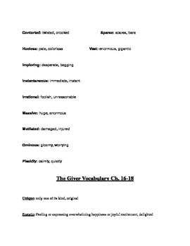 The Giver Vocab