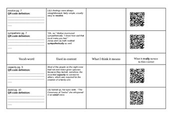 The Giver Vocab with QR codes Ch. 1-4