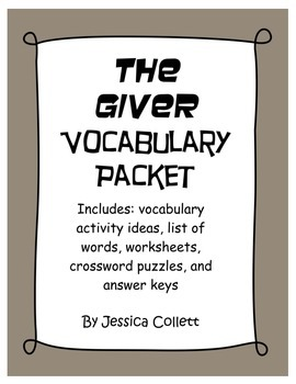 The Giver Vocabulary Activity Packet (Crossword puzzles, w