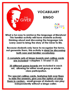 The Giver Vocabulary Bingo