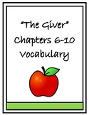 The Giver Vocabulary Chapters 6-10 Vocabulary Quiz and Homework