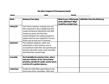 The Giver Vocabulary Matrix Chapters 5-8 L.4 Common Core S
