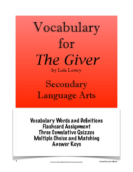 The Giver - Vocabulary; Secondary Language Arts