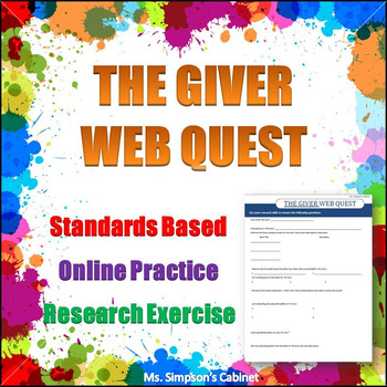 The Giver Web Quest - Online Research Practice