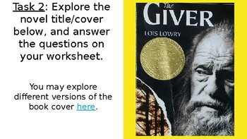 The Giver Webquest + Worksheet (Pre-Reading)