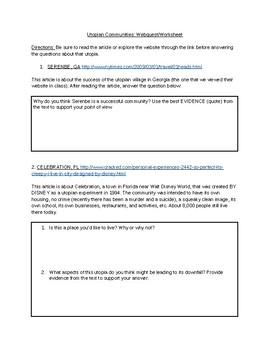 The Giver Webquest/Worksheet on Utopian Societies