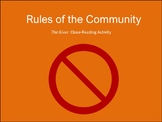 The Giver: What are the Rules of the Community? Lesson