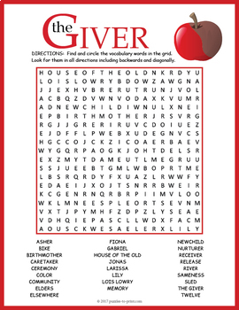 the giver word search by puzzles to print teachers pay teachers. Black Bedroom Furniture Sets. Home Design Ideas