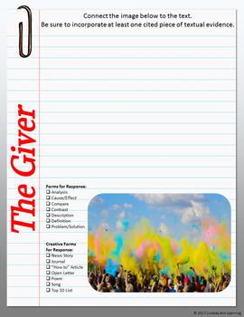 The Giver Digital Interactive Notebook Writing Prompts for Google Drive