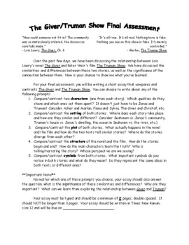 The Giver and Truman Show Final Assessment (PDF)