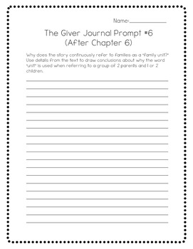 The Giver by Lois Lowry:  23 Journal Prompts