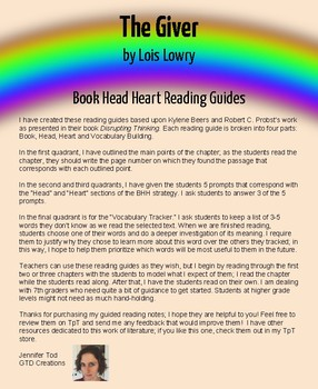 The Giver by Lois Lowry Book, Head, Heart (BHH) Reading Guides
