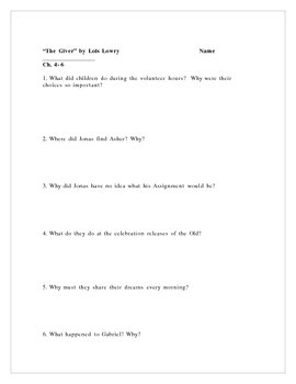 """""""The Giver"""" by Lois Lowry, Comprehension Questions/Test"""