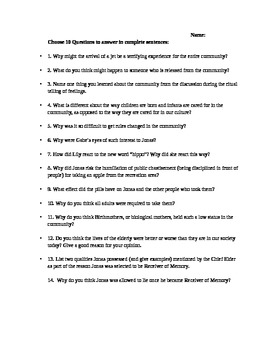The Giver by Lois Lowry Cumulative Comprehension Test or Assignment & Answer Key