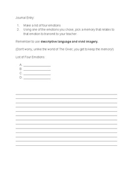 The Giver by Lois Lowry Guided Reading Packet: Chapters 11-23