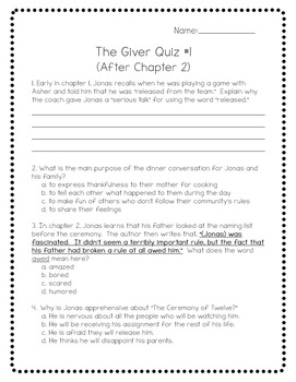 The Giver by Lois Lowry Power Pack:  23 Journal Prompts and 12 Quizzes