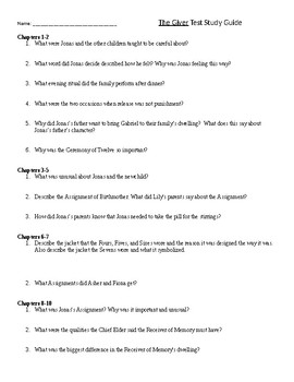 The Giver by Lois Lowry-Study Guide/Chapter Questions