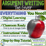 The Giver | Citing Text Evidence Argument Essay Writing | Print and Digital