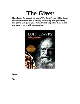 """""""The Giver"""" student packet"""