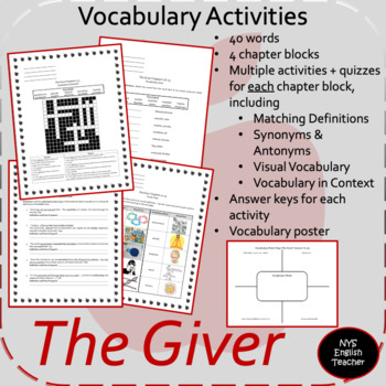 The Giver vocabulary packet