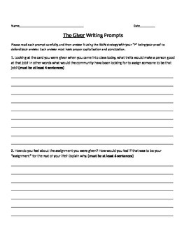 The Giver writing prompt