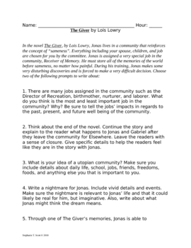 How To Use A Thesis Statement In An Essay The Giver Writing Prompts English Essays For Students also Sample Essay Thesis The Giver Writing Prompts By Vocabulary Vixens  Tpt About English Language Essay