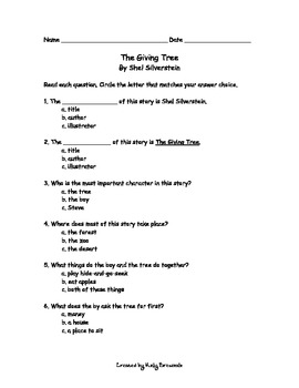 The Giving Tree Comprehension