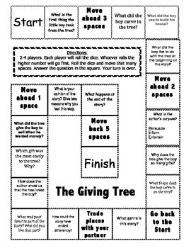 """The Giving Tree"" Comprehension Game Board"