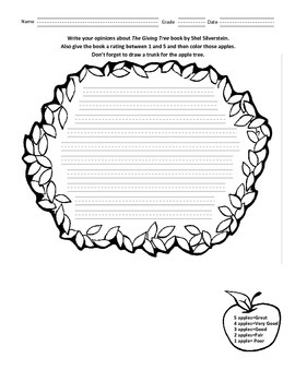 The Giving Tree Curriculum with Worksheet (K-3)