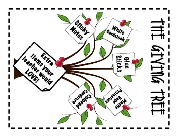 The Giving Tree... NOTE for Items Teachers Need!