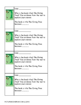 The Giving Tree by Shel Silverstein 4-5 Day Lesson Plan and Activities
