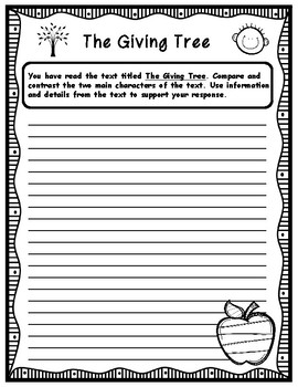 The Giving Tree by Shel Silverstein Literary Analysis Writing Task