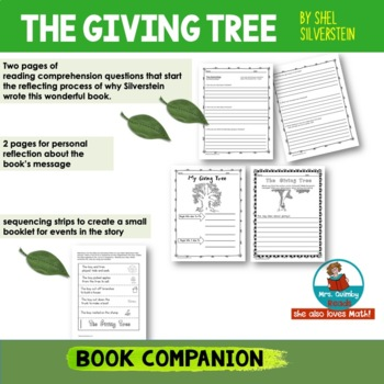 The Giving Tree by Shel Silverstein - [Writing Prompts] Reader Response Pages