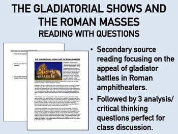 The Gladiatorial Shows & the Roman Masses Reading with Questions - Global/World