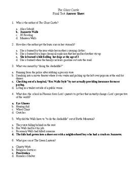 The Glass Castle 20 Question Multiple Choice Test