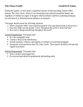 The Glass Castle  Analytical Essay Assignment By Krista Gallagher The Glass Castle  Analytical Essay Assignment Thesis Statement For Comparison Essay also Samples Of Persuasive Essays For High School Students  Buy An Essay Paper