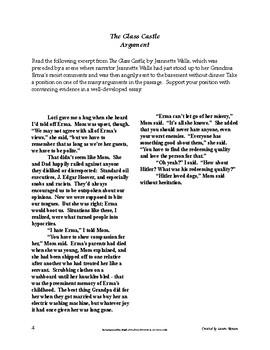 The Glass Castle Argument Prompts - AP Lang and Comp; AP Language & Composition