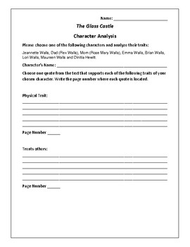 The Glass Castle Character Analysis Activity - Jeannette Walls