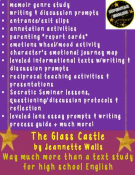 The Glass Castle Memoir Nonfiction Unit High School English Common Core