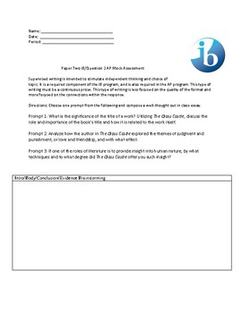 The Glass Castle Mock IB Paper Two and AP-style Timed Writing Assessment
