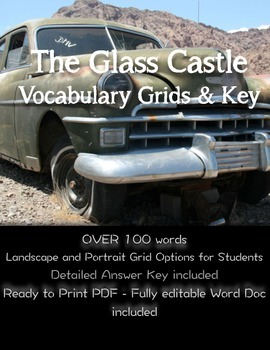 The Glass Castle Vocabulary--Already definded for teacher!