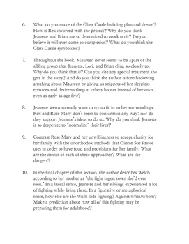 The Glass Castle (Welch sections 5-9) Discussion Questions