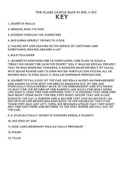 The Glass Castle  by Jeannette Walls Quiz (pg. 1-57)