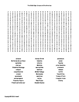 The Global Age: Europe and the Americas Word Search for World History