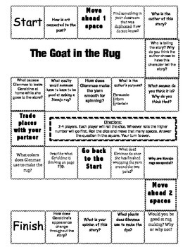 """""""The Goat in the Rug"""" 2nd grade Journeys comprehension game board"""