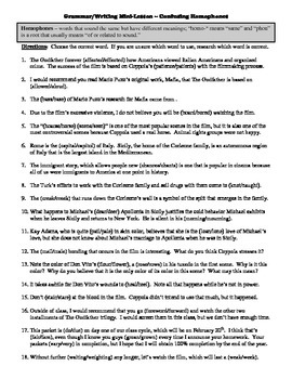 The Godfather Film (1972) Study Guide Movie Packet