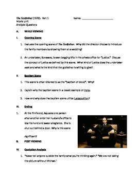 The Godfather Pt. 1 - Analysis Questions